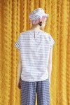 EMMER TOP LIGHT GREY STRIPES / WHITE CHECKS