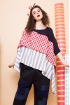 ELIANE TOP RED CHECKS / LIGHT GREY