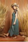 ADELE DRESS GREEN STRIPES