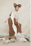 LEIA DRESS CREAM/ BROWN