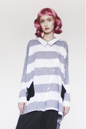 KAMI TOP GREY STRIPES