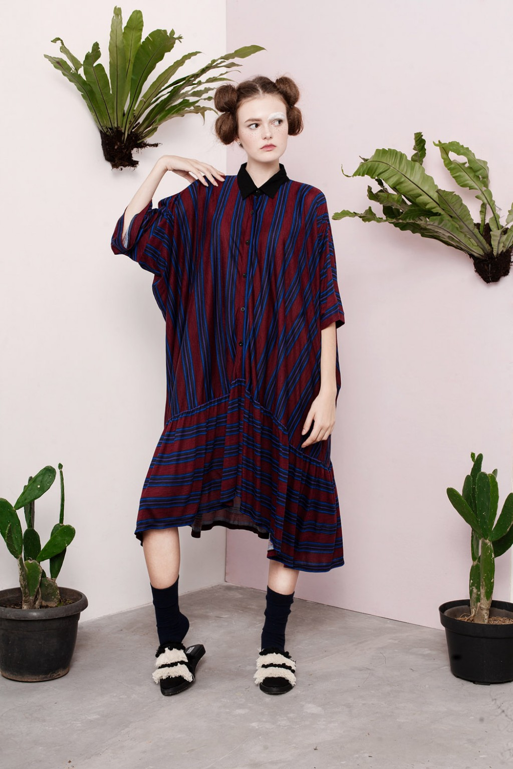 RIE DRESS MAROON STRIPES