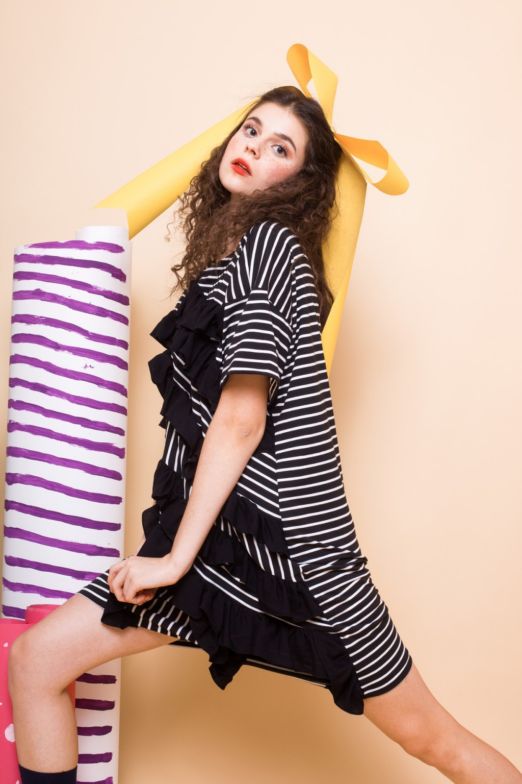 JODIE DRESS BLACK STRIPES