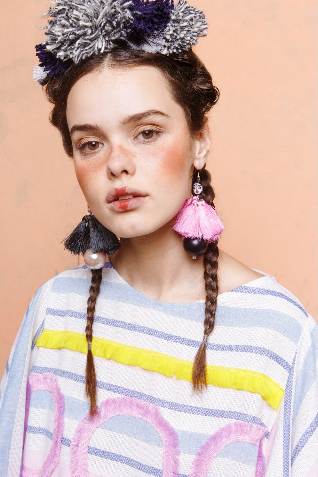 LALA EARRINGS MIX GREY PINK