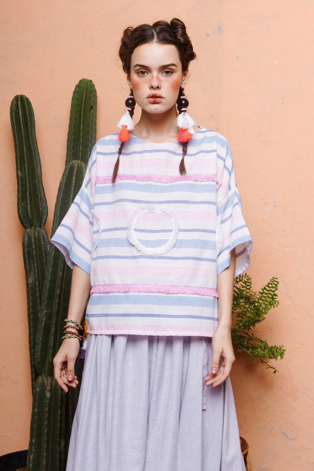 ANICA TOP PINK / WHITE