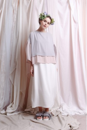 AMANI DRESS WHITE / LIGHT GREY