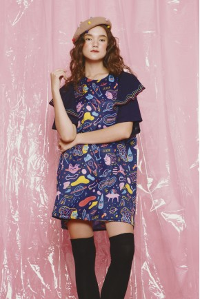 VIRGO DRESS NAVY PRINTS