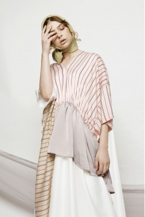 YARA DRESS CREAM STRIPES / WHITE