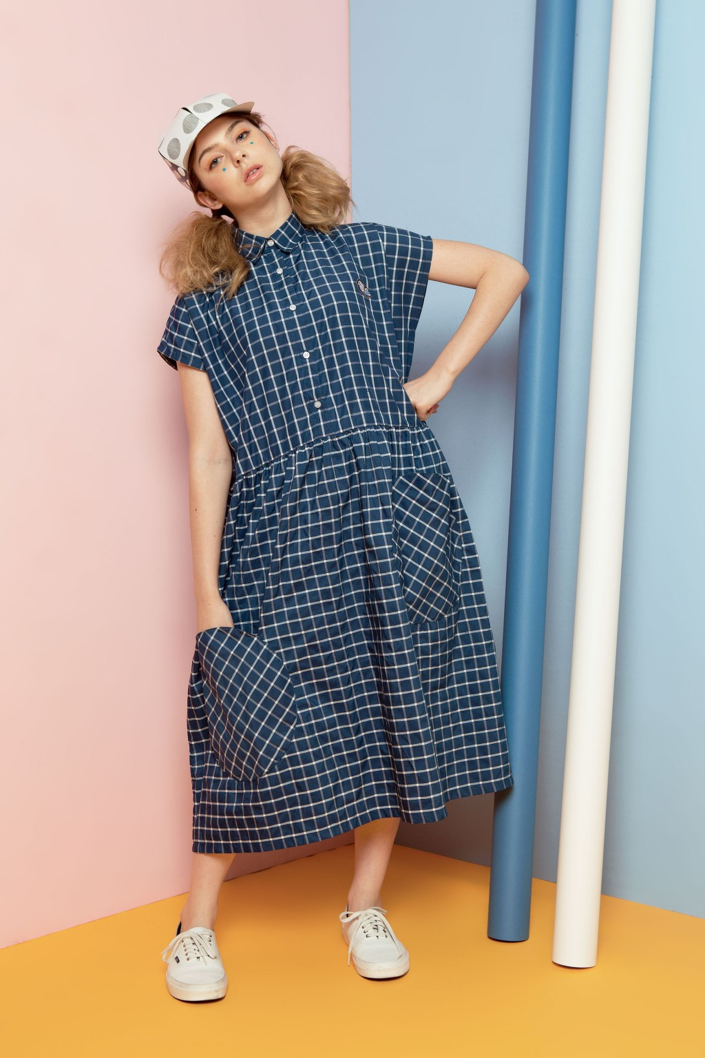 MOMO DRESS NAVY CHECKS