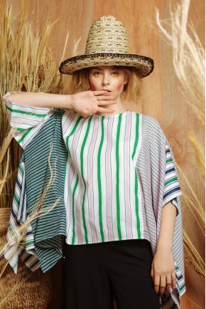 JANE TOP PINK / GREEN STRIPES