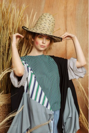 JANE TOP GREY STRIPES / BLACK