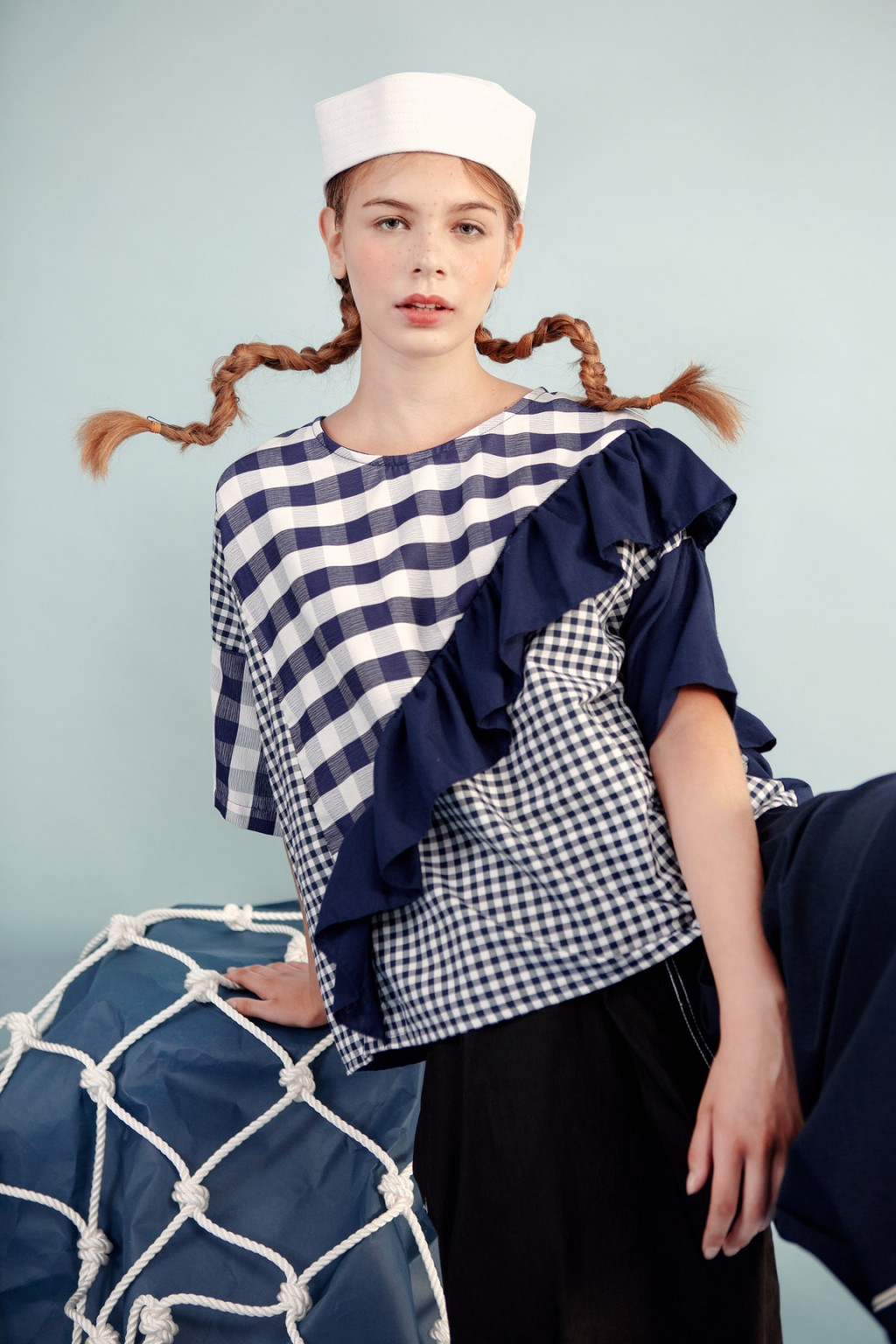 FREJA TOP NAVY CHECKS