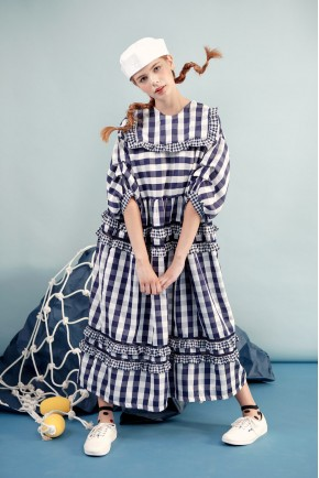 LOTTIE DRESS NAVY CHECKS