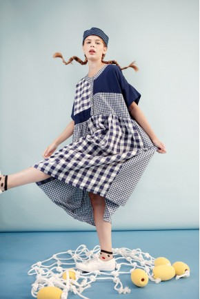 TANJA DRESS NAVY CHECKS