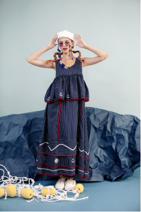 AGATA DRESS NAVY STRIPES
