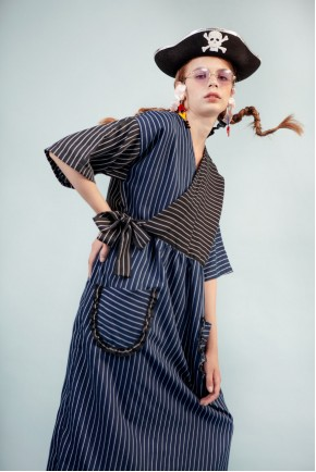 NAJA DRESS NAVY STRIPES