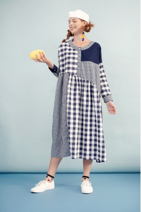 KATJA DRESS NAVY CHECKS