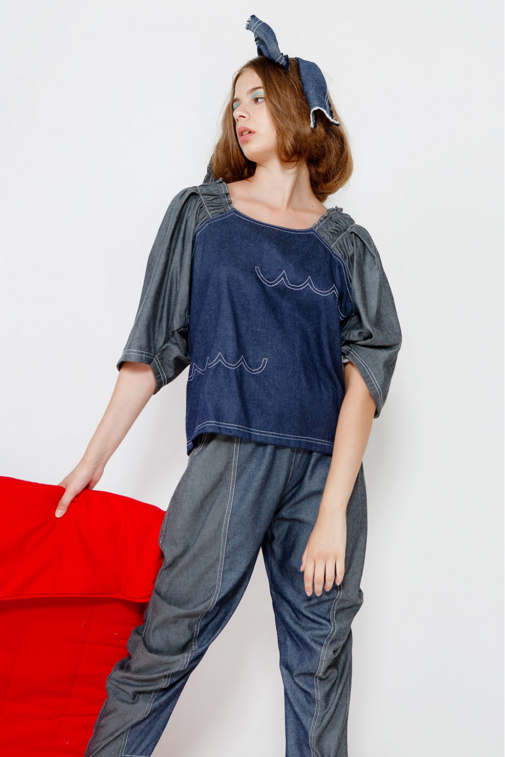 STELLA TOP GREY /  DARK BLUE