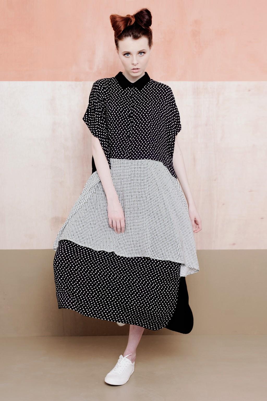 CAELIN DRESS BLACK MOTIF